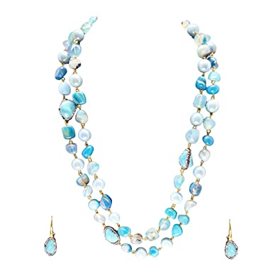 d26329d5f6 Buy Qyra Blue Color Double Layer Beads Necklace Set for Women Online at Low  Prices in India   Amazon Jewellery Store - Amazon.in