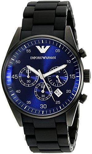 Emporio Armani Men's AR5921 Sport Black Silicone - Armani Giorgio Blue