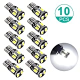 Image of Sunnest 194 LED Light bulb, Super Bright 5730 Chipset LED Bulbs for Car Interior Lights Dome Map Door Courtesy License Plate Lights W5W 168 2825 T10 Wedge 10-SMD White Bulbs, Pack of 10