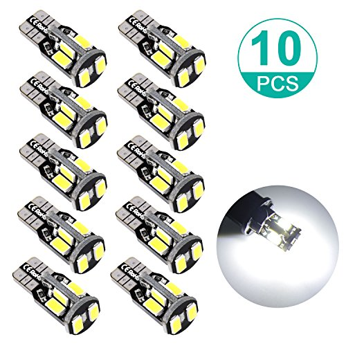 Sunnest 194 LED Super Bright Light Bulbs, 5730 Chipset 12V Car Replacement Interior Lights for Dome Map Door Courtesy License Plate Lights, T10 Wedge W5W 168 194 2825 10-SMD White Bulbs (Pack of 10)