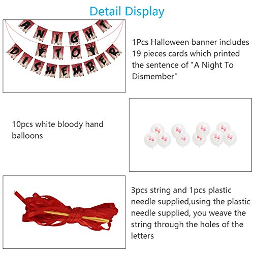 AirSMall A Night to Dismember Banner,with 10Pcs Blood Handprint Balloons,Halloween Scary Bloody Garland,for DIY Zombie,Vampire Theme Party Decorations Supplies