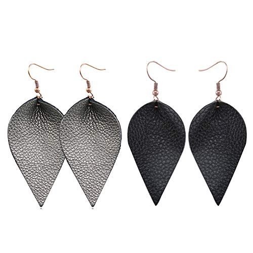 Teardrop Leather Earrings Leaf Drop Dangle Earrings for Women 2 Pairs Pack (black&black2)