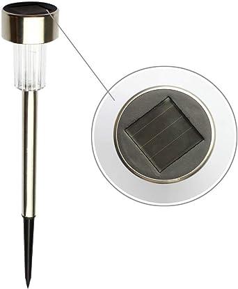 Solar acero inoxidable LED luz del césped for la decoración del jardín al aire libre impermeable IP65 Baliza solar luces del palillo de la luz blanca (Color : A): Amazon.es: Iluminación