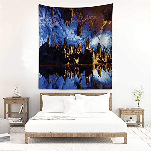 (Fashion Tapestry Reed Flute Cave Stalactite Stalagmite Formations Lighted Up Guilin China Mystical Real Photography High Resolution Print Blue Navy Brown Tapestry for Home Decor 19