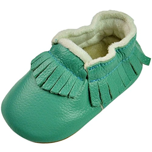 Fire Frog Baby Fringe Sneakers - Zapatos primeros pasos de piel auténtica para niño Verde
