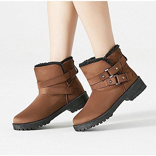 peluche inverno caldo breve stivali piatto scarpe 43 40 cotone casual tacco basso spessa GRAY caviglia BROWN Femmina gzqxHwpSAx