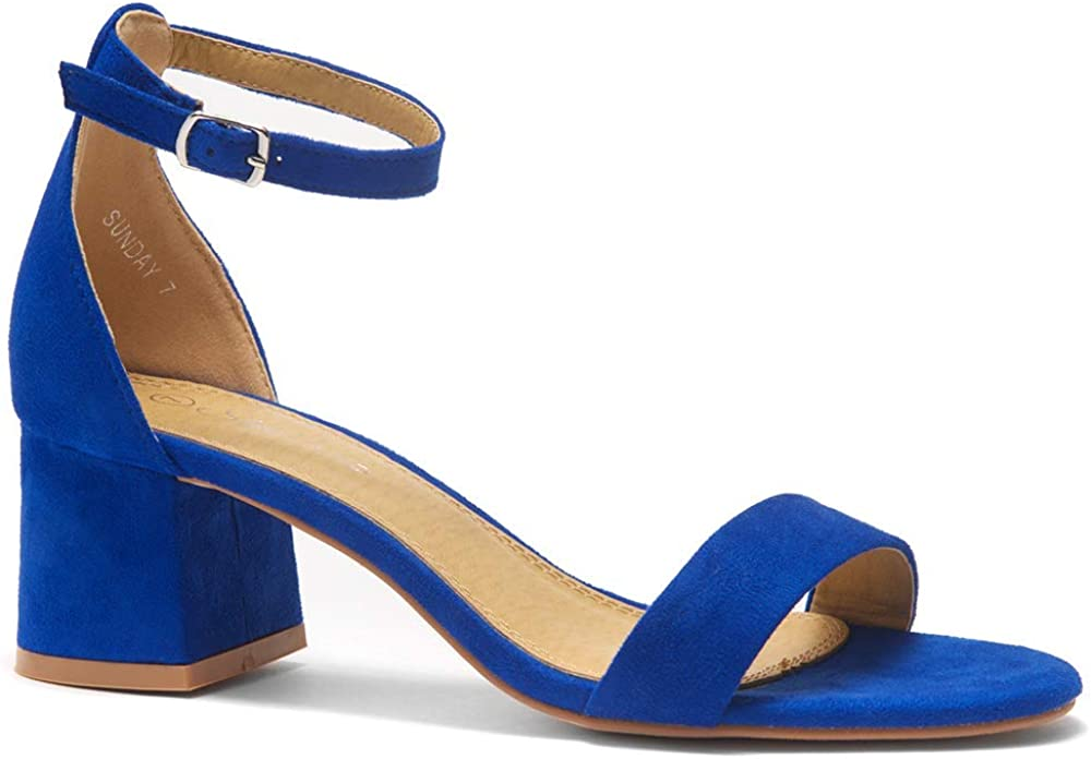 Shoe Land Sunday Women's Open Toe Ankle Strap Block Chunky Low Heeled Sandal Comfortable Office Pump Shoes