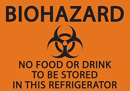 ZING 1916S Eco Safety Sign, Biohazard No Food or Drink in Refrigerator, Recycled Polystyrene Self Adhesive, 5