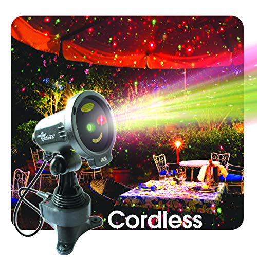 """Christmas Laser Lights, Red and Green Motion Projector """"Cordless"""" for Indoor and Outdoor Waterproof Laser Light for Graden, Weddings and Home Decor"""