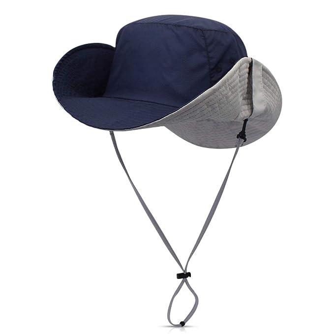 DORRISO Sombrero para el Sol UPF 50+ Vacaciones Viaje Selva Cámping Playa  Gorro de Pesca Hombres Mujer 76f41edc488