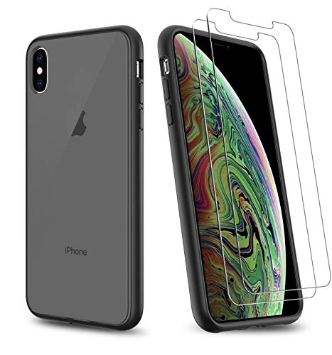 Uniwiland 2-in-1 iPhone X Case/iPhone Xs Case with 2 Packs Screen Protector, Matte Black Clear Back Drop Protection Frosted Case & HD Tempered Glass Screen Protector for iPhone X/iPhone Xs (Black)