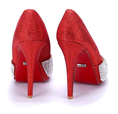 Schuhtempel24 Damen Schuhe Peeptoes Pumps Stiletto Glitzer/Ziersteine/Schlupf 12 cm High Heels Rot