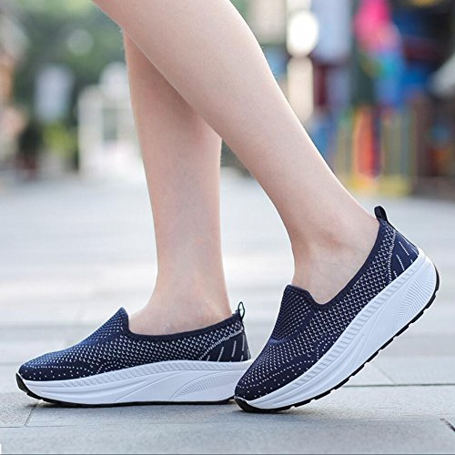 XUE Women's Shoes Mesh Spring Fall Loafers & Slip-Ons Driving Shoes Fitness Shake Shoes Shake Shoes Shaking Shoes Flat Loafers Sneakers Athletic Shoes Platform Shoes (Color : C, Size : 42) D