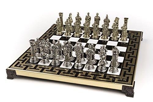 Roman Metal Chess - Marinakis Handmade Romans Metal Chess Set In Wooden Box