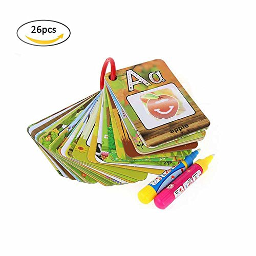 26pcs Water Magic Painting Cards & Magic Drawing Pens, Kids Cognitive Cards A-Z Alphabet Drawing Doodle Board Book Card Educational Toy Gifts for Toddler Baby (Watercolor Cards Christmas)
