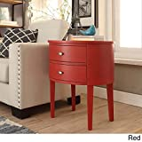 Double Drawer Oval Wood Accent Table (Red)