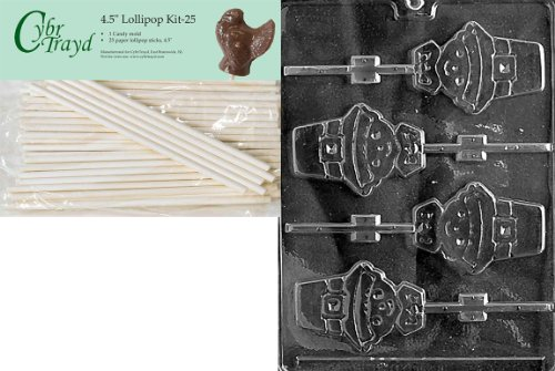 (Cybrtrayd 45St25-T015 Pilgrim Lolly Boy Thanksgiving Chocolate Candy Mold with 25-Pack 4.5-Inch Lollipop Sticks)