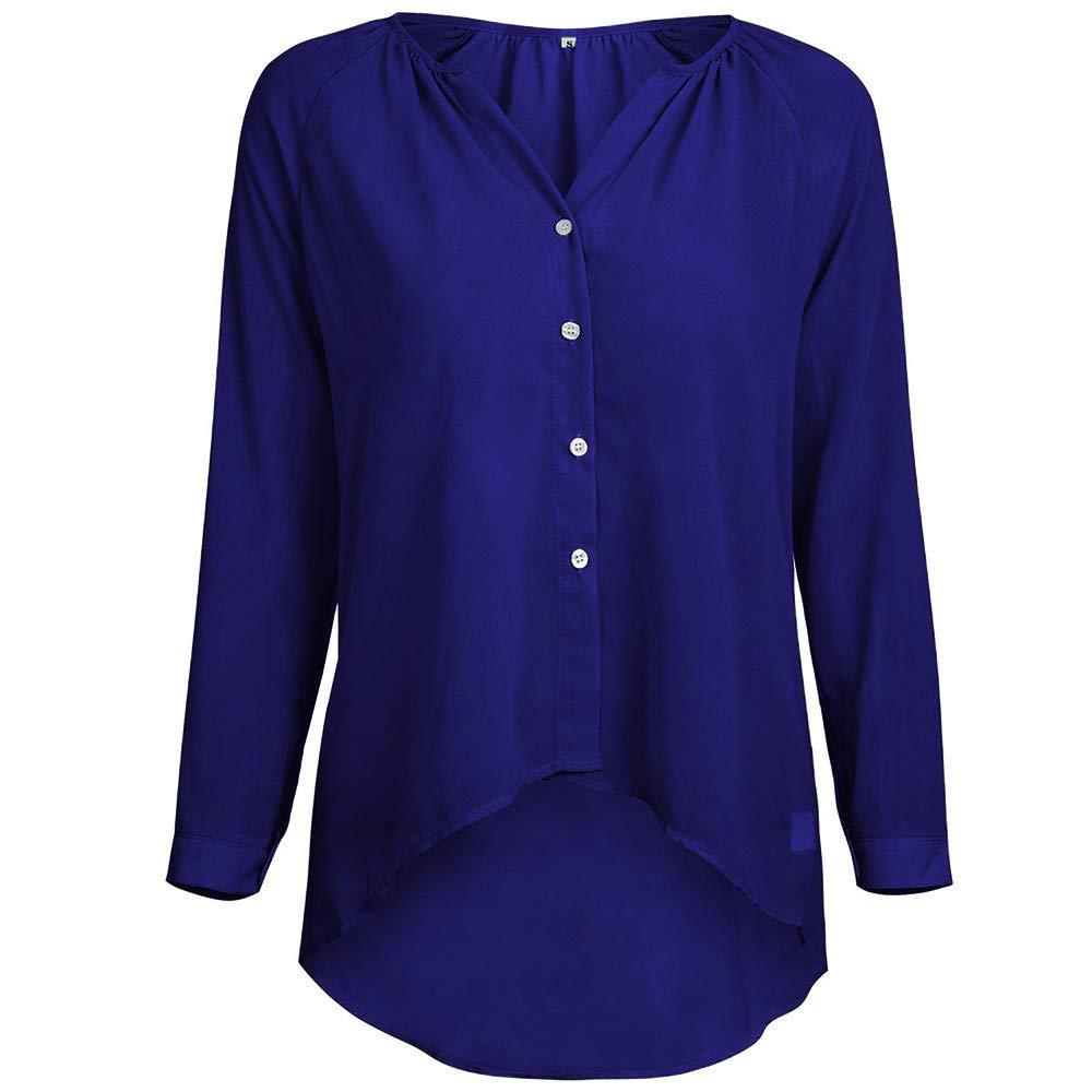 LANSKIRT Tops Mujer Fiesta Sexy Camisas Mujeres con Cuello en V botón de Manga Larga Gasa Camisa Informal Blusa Camisa Casual Sudaderas Manga Larga Camisas ...