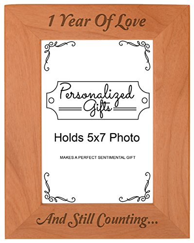 1st Anniversary Gifts 1 Year and Counting Natural Wood Engraved 5x7 Portrait Picture Frame Wood