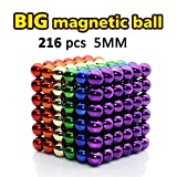 LOVEYIKOAI 216 Pcs Magnets Cube Building Blocks Magnetic Toys Colorful Buildable Sculpture Toy for Stress Relief Gift for Adults,5MM
