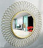 Furnish Craft Beautiful Modern Designed Sunflower Iron Decorative Wall Mirror for Living Room (21 x 21 inch)