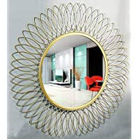 Furnish Craft Beautiful Modern Designed Sunflower Iron Decorative Wall Mirror for Living Room