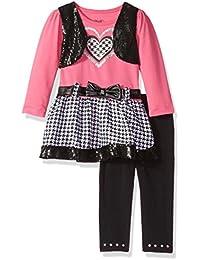 Little Girls' 2 Piece Plaid Heart Dress and Pant Set