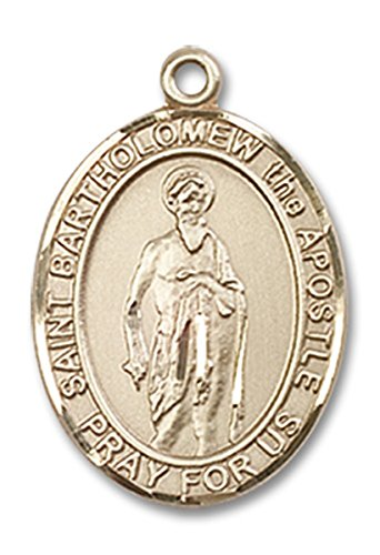 (14 Karat Gold Saint Bartholomew the Apostle Medal Charm Pendant, 3/4 Inch)