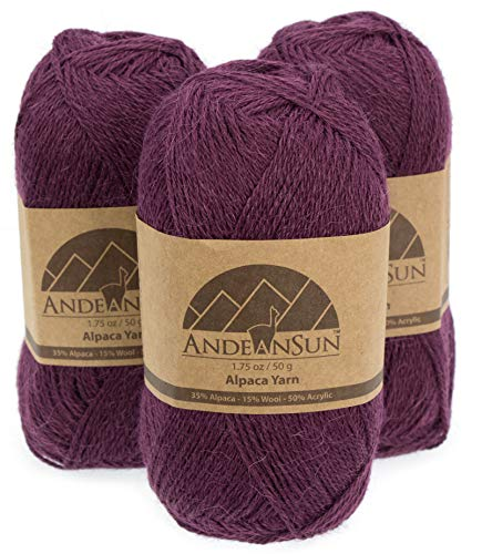 THIN Alpaca Yarn Blend FINGERING Weight Skeins - SET OF 3 SKEINS - 654 Yards Total - 150 Grams - 5.28 Ounces Total (Royal Purple) - Fingering Weight