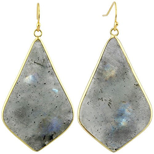 SUNYIK Women's Labradorite Large Rhombus Dangle ()