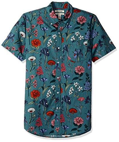 Goodthreads Men's Slim-Fit Short-Sleeve Printed Shirt, Wallpaper Floral, Large by Goodthreads