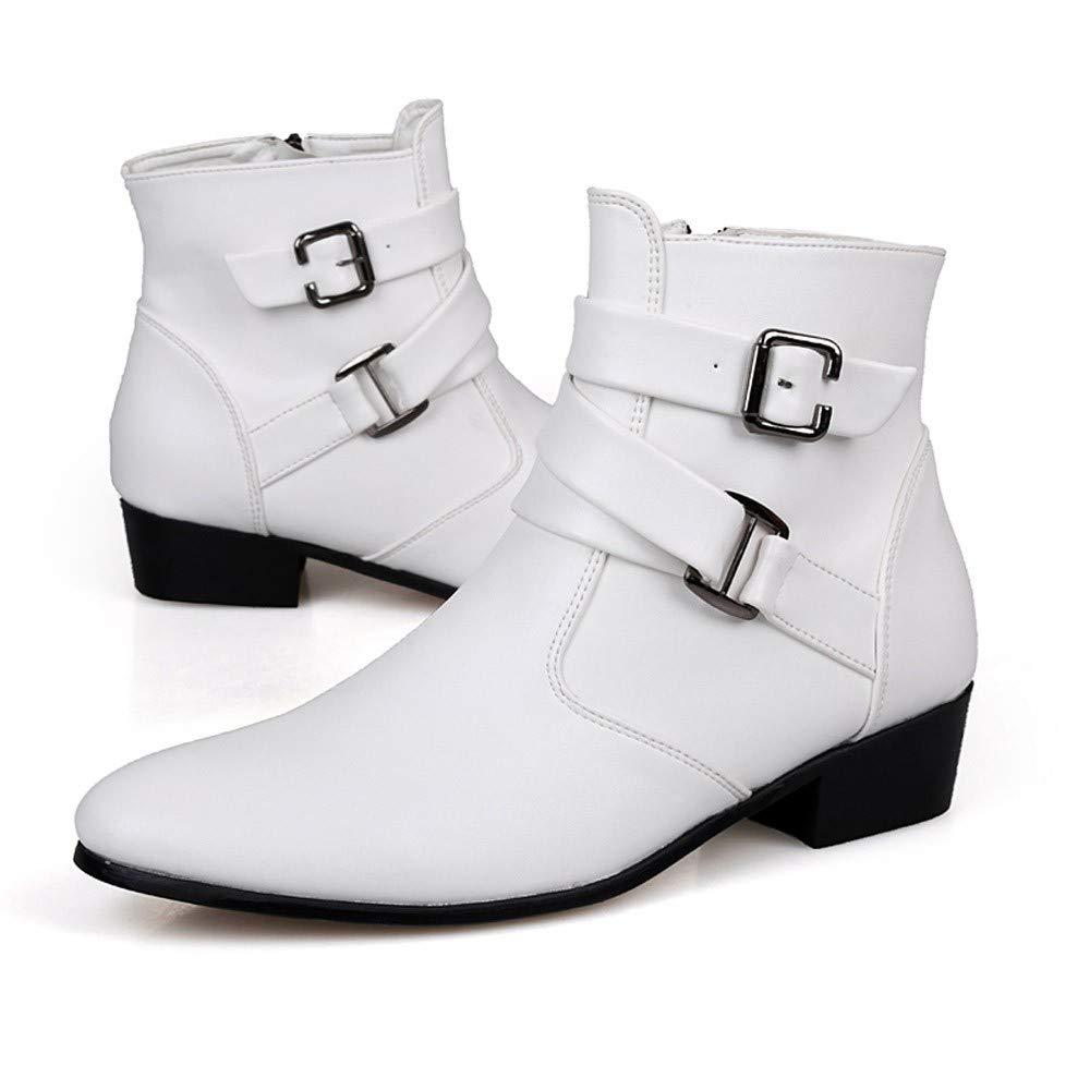 QinMM Botas Chelsea para Hombre Zapatos Altos Botas de Cuero Botines Botas de Motos Invierno oto/ño