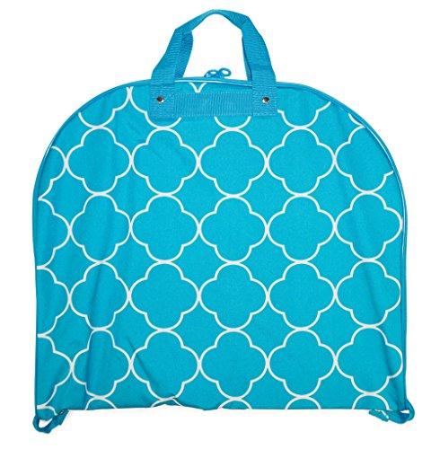 Ever Moda Hanging Garment Bag, Teal Aqua Blue Quatrefoil Moroccan (40-inch)