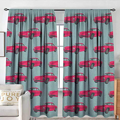 NUOMANAN Sliding Curtains Cars,Vintage Red Vehicles Retro Sports Cars from Sixties Fifties Driving Speeding, Pink Slate Blue,Thermal Insulated Light Blocking Drapes for Bedroom 54