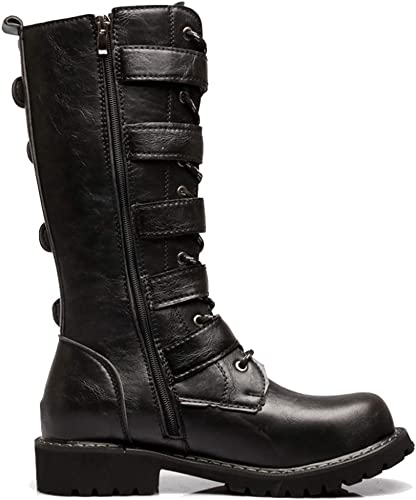 MERRYHE Mens High Top Martin Boots Army