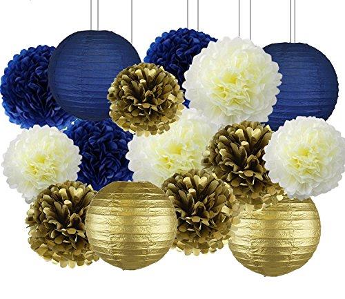 Navy Blue Party Decor Kit, Nautical Party Decorations, Hanging Pom Pom Flowers, Navy Blue Paper Lanterns for Nautical Baby Shower Bridal Shower Wedding Birthday Bachelorette