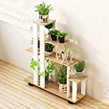 Balcony flower rack multi - storey interior frame simple multi - purpose flower racks ( Color : Light walnut color )