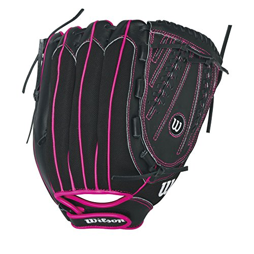 Wilson Flash Baseball Gloves, Black/Hot Pink, 12