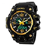Jelercy Boy Dual Dial Analog Digital Watch 5 ATM 50M Waterproof Shock Oversized Face Running Sports Watches for Men,Gold