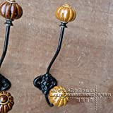 Ceramic Wrought Iron Pumpkin Hook/Vintage Old Creative Clothes Hat Hook-D