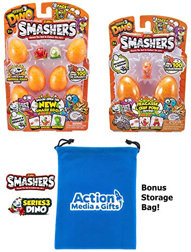 - Smashers Series 3 Gift Bundle Includes (1) Dino Egg 8 Pack + (1) Dino Egg 3 Pack with Compatible Toy Storage Bag