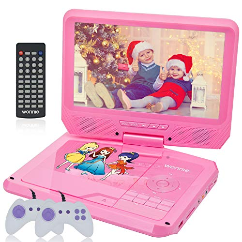WONNIE 11.5 Kids Portable DVD Player with 9.5'' Swivel Screen, Games/USB/SD Card Readers and Built-in Rechargeable Battery ( Pink )