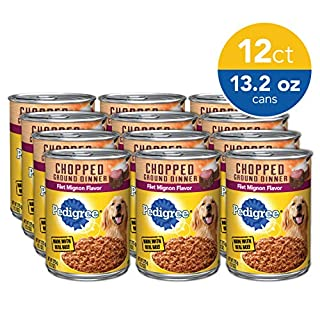 PEDIGREE Adult Canned Wet Dog Food Chopped Ground Dinner Filet Mignon Flavor, (12) 13.2 oz. Cans