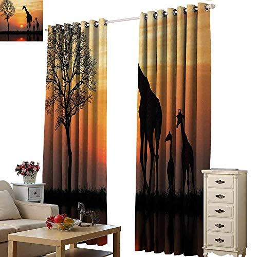 Novel Curtains Africa Giraffes on Bushes by The Lake Surface Horizon in The Middle of Nowhere Image Tie Up Window Drapes Living Room W96 xL84 Orange Black