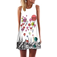 Shinekoo Women 2017 New Sleeveless Shoulder Off Floral Casual Dress A Line