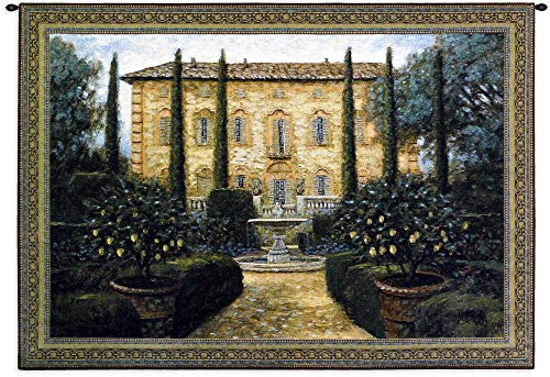 Italian Villa by Jon Mcnaughton | Woven Tapestry Wall Art Hanging | Stately Italian Villa Home Courtyard | 100% Cotton USA Size 53x36