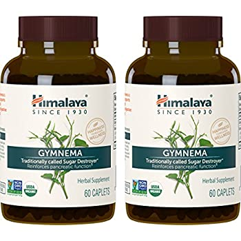 Himalaya Organic Gymnema Sylvestre 60 Caplets for Sugar Destroyer & Healthy Glucose Metabolism 700 mg, 2 Month Supply (2 PACK)