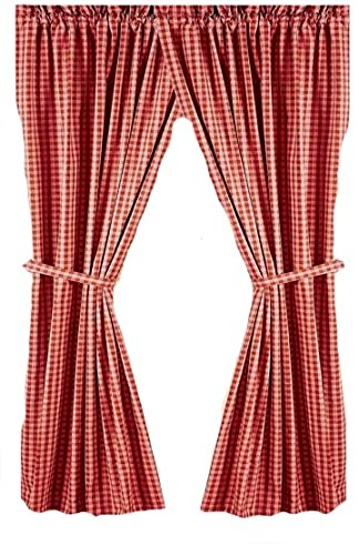 Home Collection by Raghu 2-Piece Heritage House Check Panels, 72 by 63-Inch, Barn Red/Nutmeg (Heritage Panel)