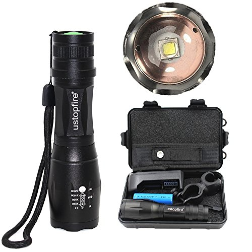 ustopfire LED Tactical Flashlight,5 Mode CREE XM-L2 Super Bright 2000 Lumens Zoomable Adjustable Focus Water Resistant Portable Handheld Flashlight Torch include Battery and Charger