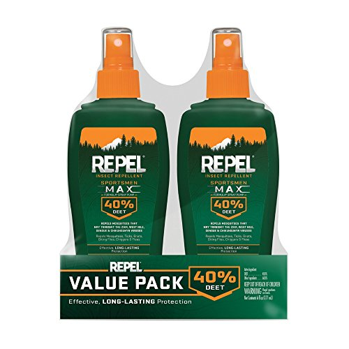 Repel Insect Repellent Sportsmen Max Formula Spray Pump 40% DEET, 2/6-Ounce (Best Mosquito Repellent For Camping)